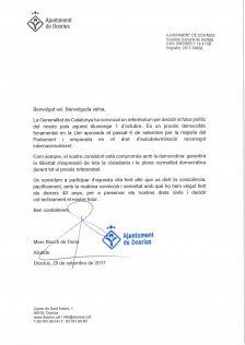 Carta de l'alcalde als veïns i veïnes de Dosrius
