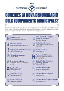 Cartell amb el llistat de les noves denominacions dels equipaments municipals