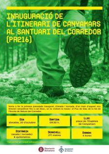 Cartell de la passejada inaugural pel nou itinerari de Canyamars al Santuari del Corredor