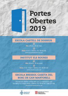 Cartell de la jornada de portes obertes a l'Escola Castell de Dosrius