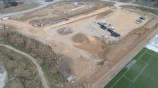 Imatge aèria del desenvolupament dels treballs a Can Batlle
